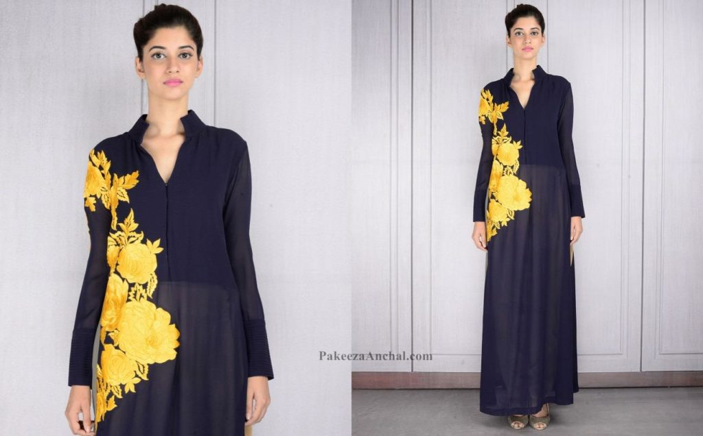 Long Midnight Blue Tunic with Yellow Resham embroidery designed by Manish Malhotra-PakeezaAnchal.com