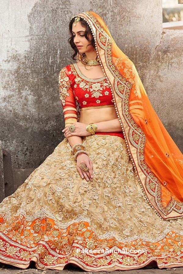 Luxurious Designer Georgett and Resham Bridal Lehenga Choli Designs-PakeezaAnchal.com
