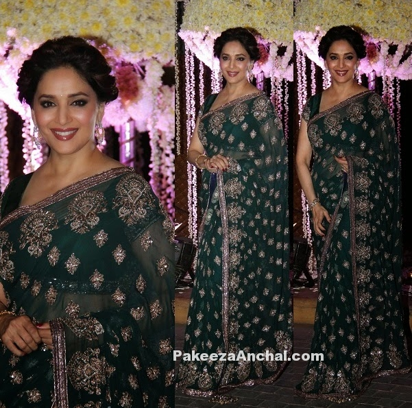 Madhuri Dixit in Multi Sequin Zari Embroidered Green Saree & Blouse-PakeezaAnchal.com