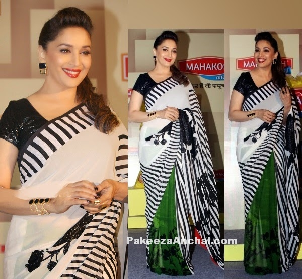 Madhuri Dixit in Printed Saree and Sequin Black Blouse by Satya Paul-PakeezaAnchal.com