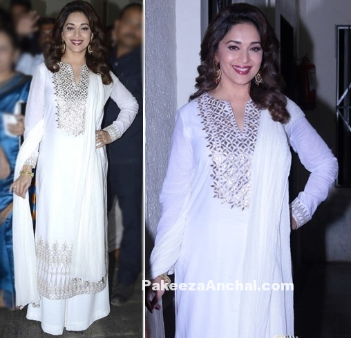 Madhuri Dixit in White Suit with Palazzo Pants by Anita Dongre-PakeezaAnchal.com