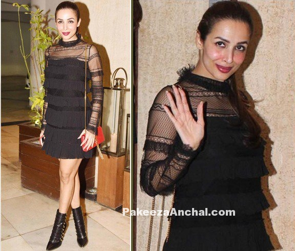 Malaika Arora in Black Layered Short Skirt-PakeezaAnchal.com