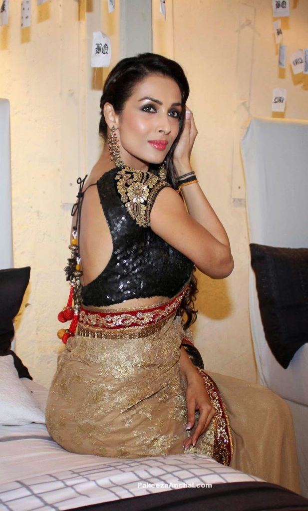 Malaika Arora in Vikram Phadnis Gold Embroider Saree and Black Sequined Blouse-PakeezaAnchal.com