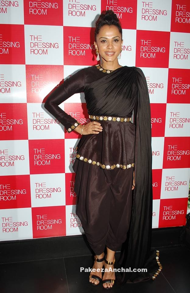 Manasi Scott in Coffee colored pEPLUM TOP WITH dHOTI pANTS AT tHE Dressing Room-PakeezaAnchal.com