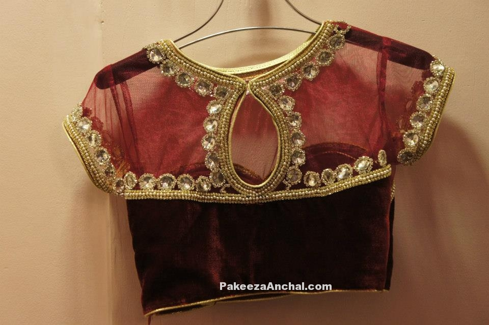 Maroon Velvet and Net Blouse designs for Bridal wear, Celebrity blouse back designs-PakeezaAnchal.com
