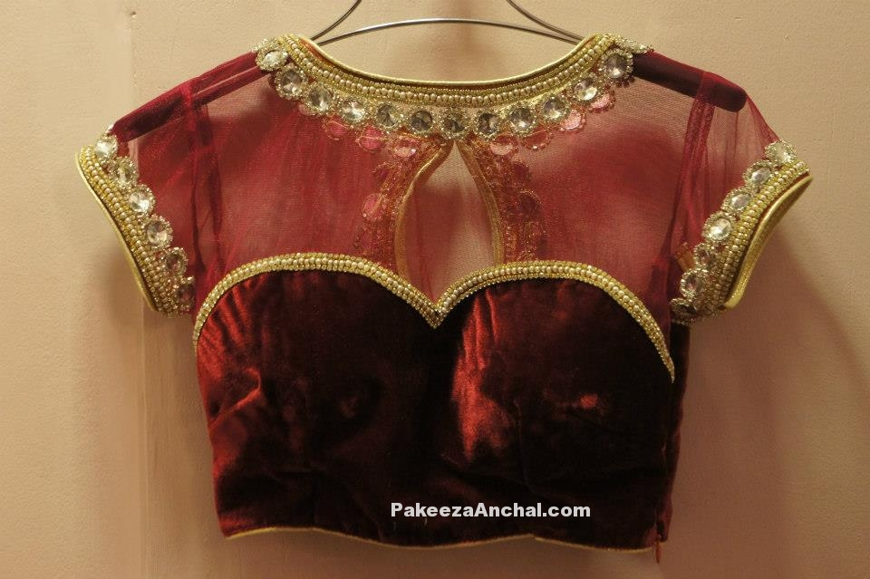 Maroon Velvet and Net Blouse designs for Bridal wear, Celebrity blouse designs-PakeezaAnchal.com