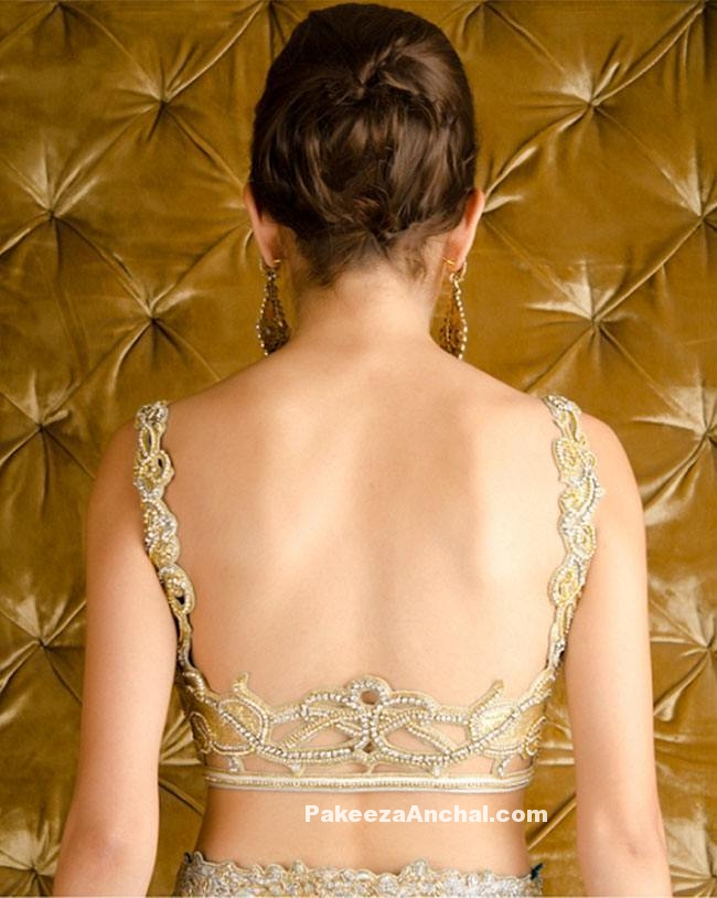 Most Stylish Backless Blouse design with beads and Zari Work-PakeezaAnchal.com