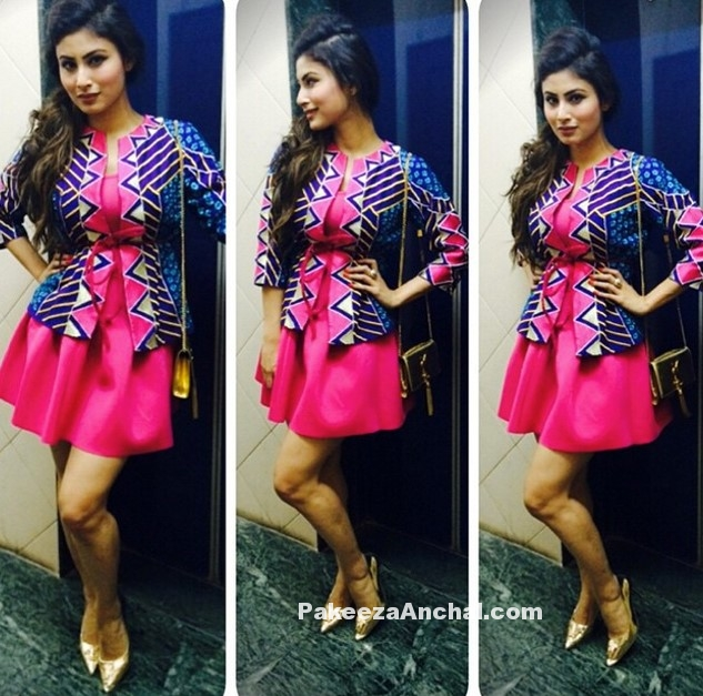 Mouni Roy in Sabah Sharma Pink Skirt-PakeezaAnchal.com