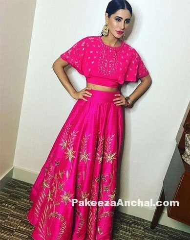 Nargis Fakhri in Pink Cape and Skirt by Anita Dongre
