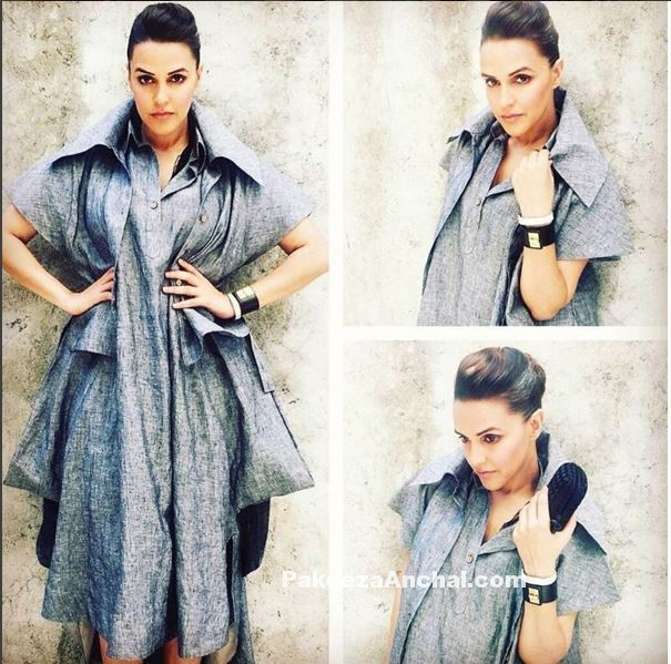 Neha dhupia in Grey chola Dress at Kiehl's Event-PakeezaAnchal.com