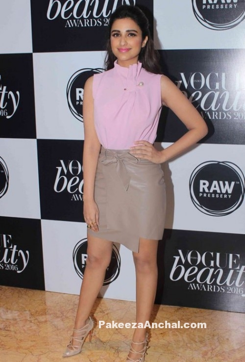 Parineeti Chopra in Pink top and Leather wrap skirt from Madison