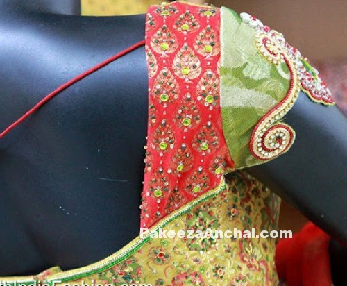 Party Wear Blouse Sleeve Designs, Short Sleeved Latest Blouse Styles PakeezaAnchal.com
