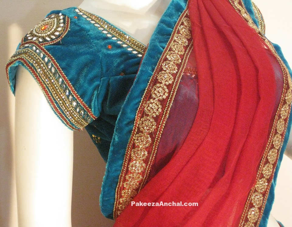 Party Wear Blouse Sleeve Designs, Short Sleeved Latest Blouse Styles-PakeezaAnchal.com