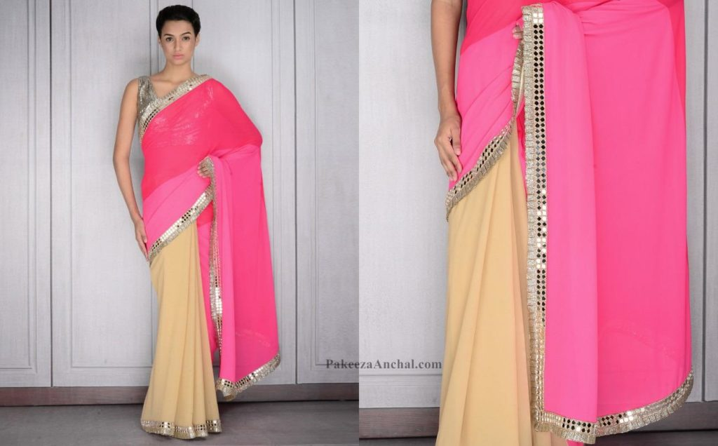 Pink Saree with Mirror Work and Zari, Sequin Border by Manish Malhotra-PakeezaAnchal.com