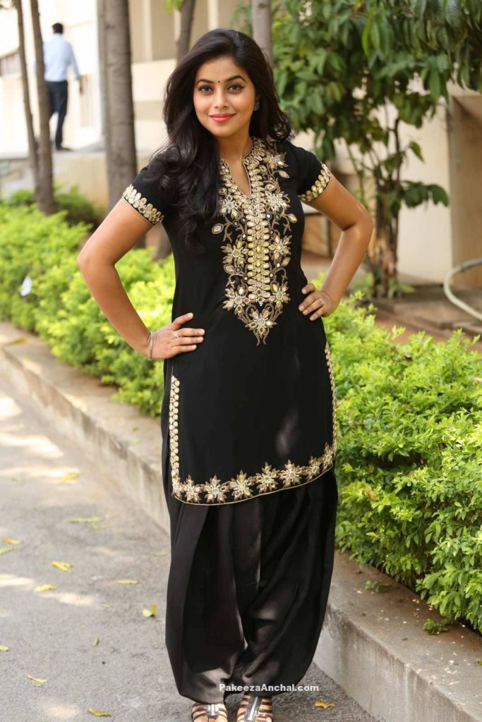 Poorna in Black Patiala Salwar Kameez with Embroidery Work at Rajugari Gadi Success Meet-PakeezaAnchal.com