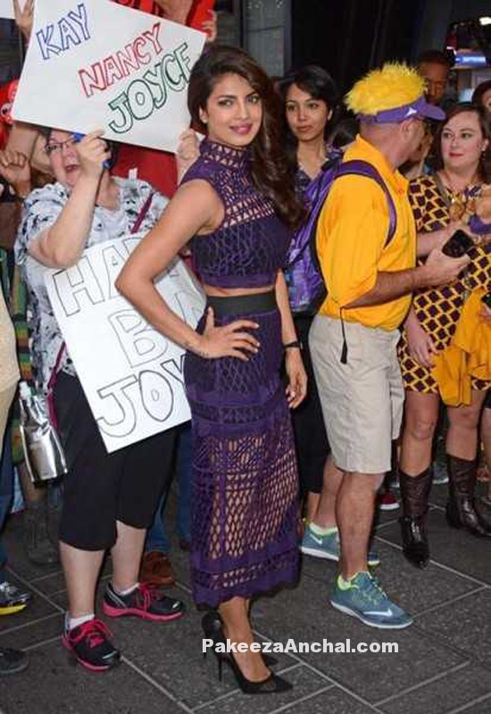 Priyanka Chopra in Purple Mesh Netted Self Portrait's Crop Top and Pencil Skirt PakeezaAnchal.com