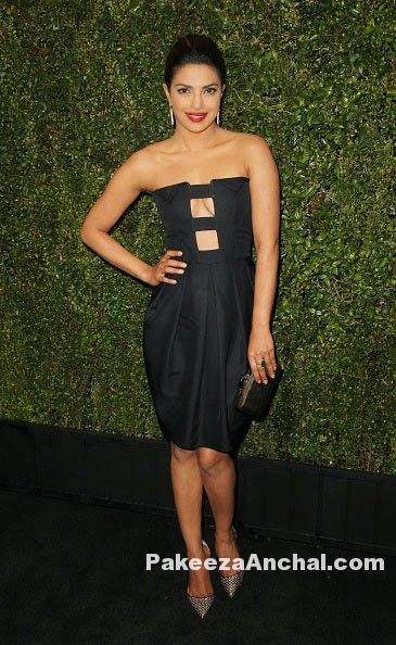 Priyanka Chopra in Strapless Black Mini Skirt Dress Pre Oscar Party-PakeezaAnchal.com