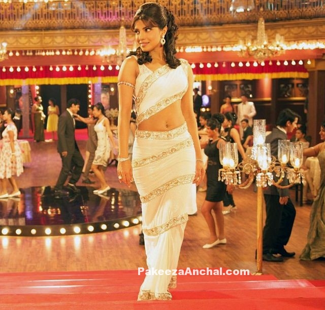 Priyanka Chopra in a Retro Style Double Drape Saree with Sequined Border-PakeezaAnchal.com