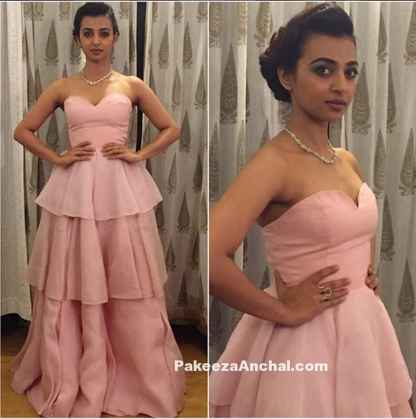 Radhika Apte in Baby Pink Off Shoulder Frill Gown by Vizyon-PakeezaAnchal.com