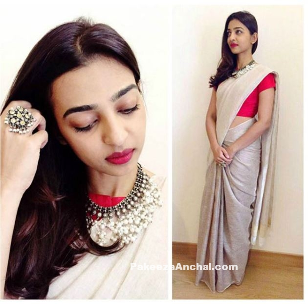 Radhika Apte in Pale Grey Saree with Red Blouse by Anvila-PakeezaAnchal.com