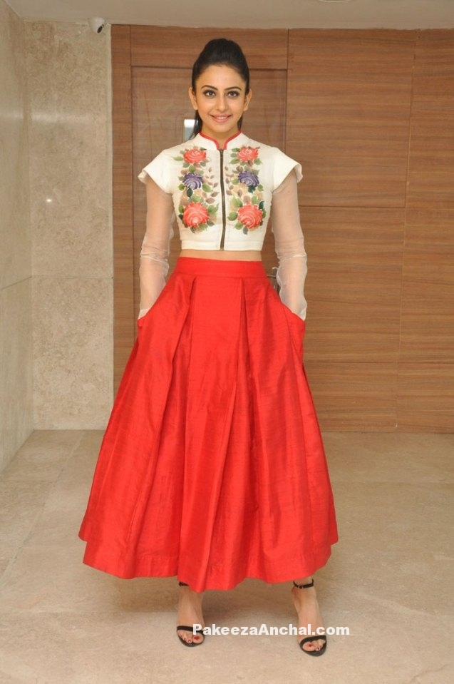 Rakul Preet Singh in Embroidered Crop Top and Skirt by Parul J Couture
