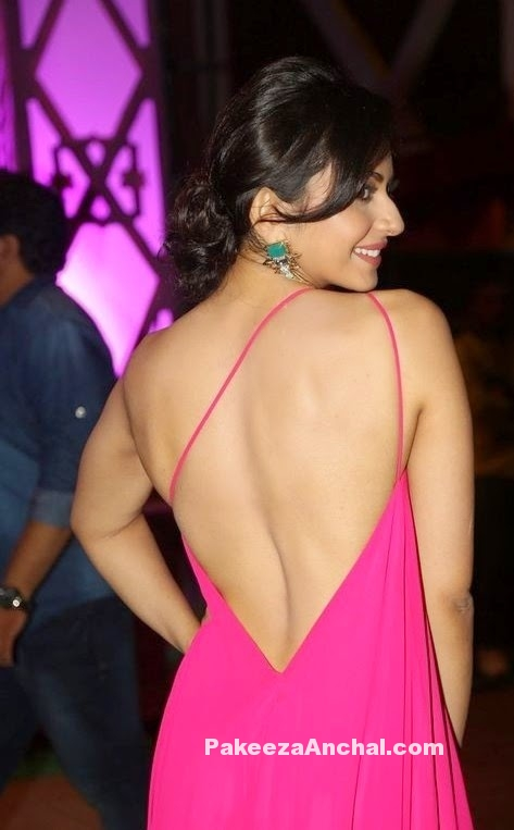 Rakul Preet Singh in Pink One Shoulder Backless Gown with Strings Pakeezaanchal.com