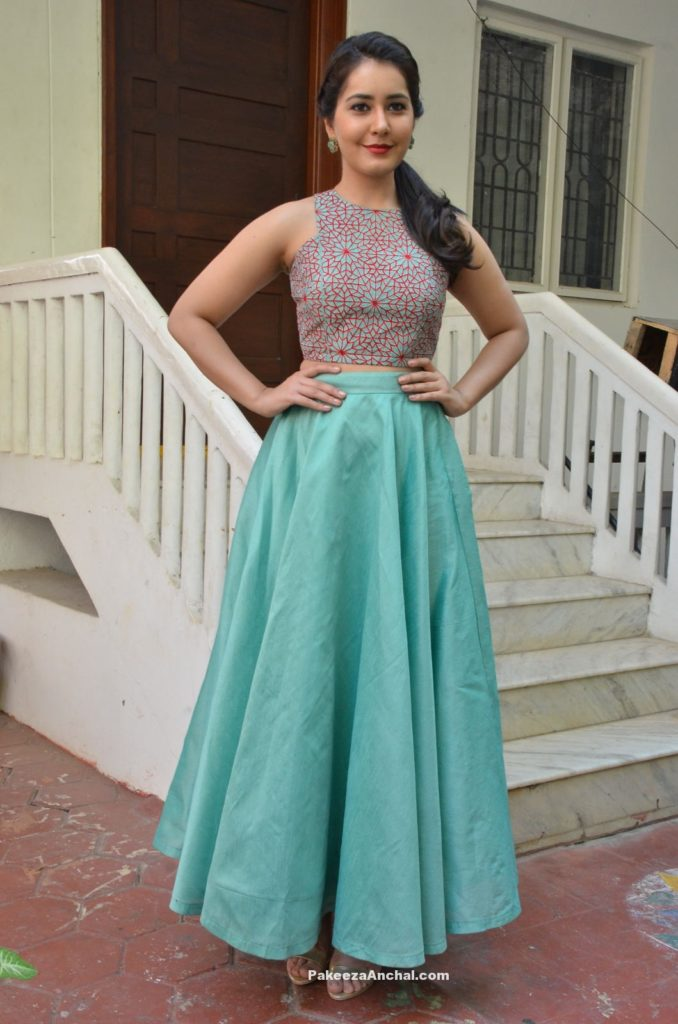 Rashi Khanna in Blue Skirt and Sleeveless Top on the sets of Bengal Tiger-PakeezaAnchal.com