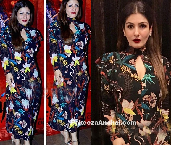 Raveena Tandon in H&M High Collar Printed Dress