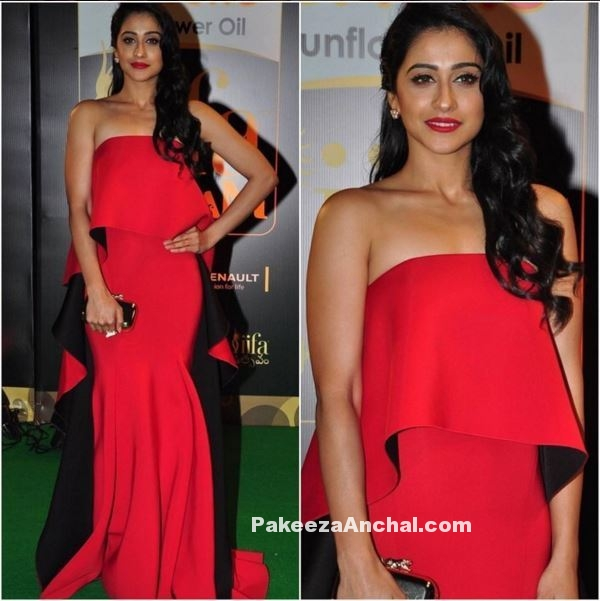 Regina Cassandra in Red Strapless Off Shoulder Gown at IIFA Utsavam 2016-PakeezaAnchal.com