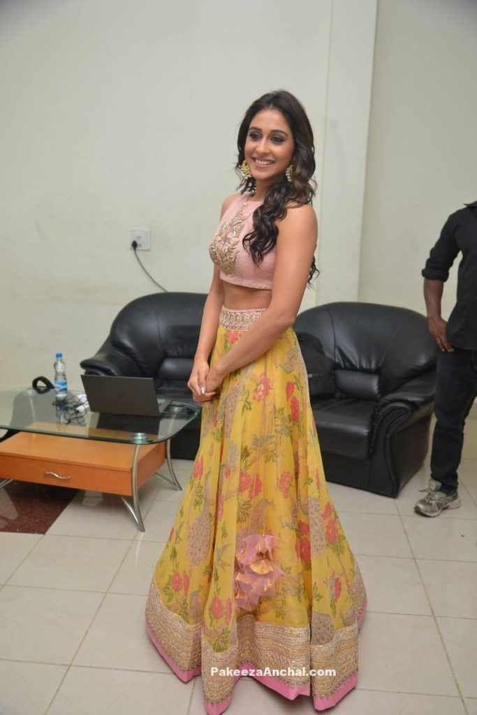 Regina Cassandra in Yellow floral Lehenga with Pink Embroidery High Neck net blouse-PakeezaAnchal.com