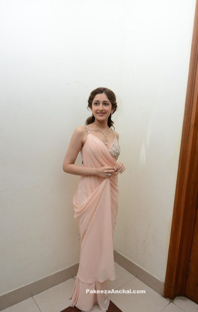 Sayesha Saigal in Plain Poweder Pink Saree with Sleevless Embroidery work Blouse-PakeezaAnchal.com