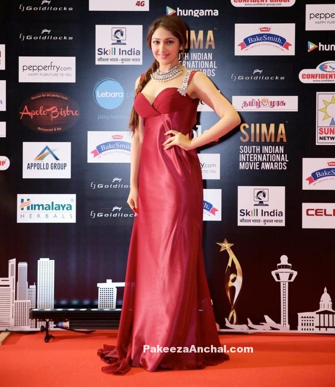 Sayyesha Saigal in Red Gown with Thin Straps-PakeezaAnchal.com