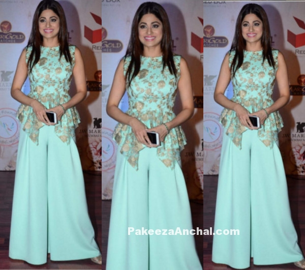 Shamita Shetty in Vikram Phadni's Peplum Top and Palazzo Pants