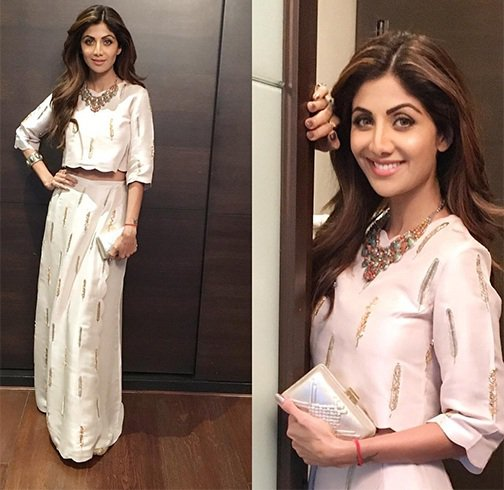 Shilpa Shetty in Payal Singhal's White Top & Skirt