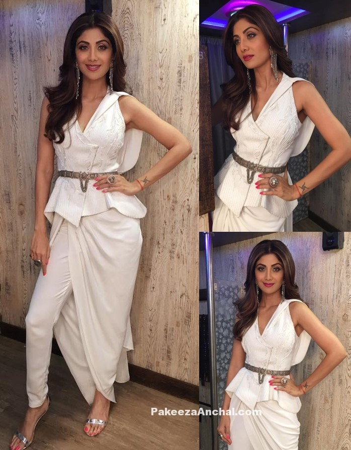 Shilpa Shetty in Peplum Jacket and Drape Trousers for Women