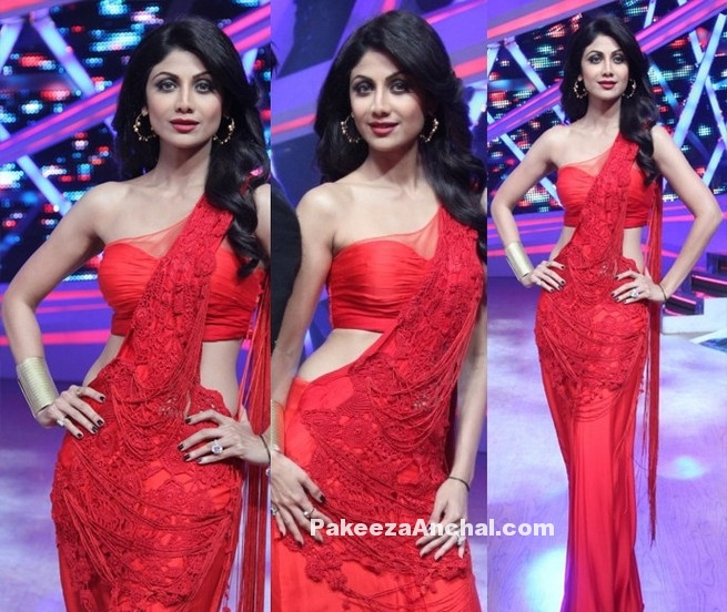 Shilpa Shetty in Red One Shoulder Saree Blouse with Gown Saree in Nach Baliye-PakeezaAnchal.com