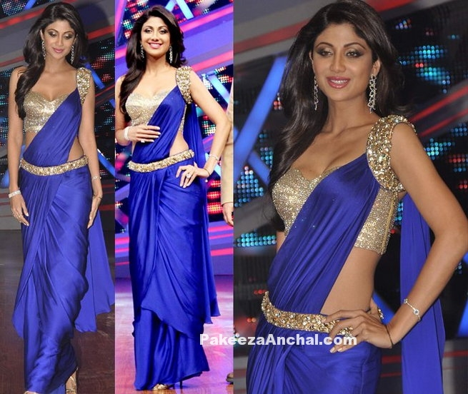 Shilpa Shetty in Stylish Blue Crepe Silk Saree Gown with One Shoulder Blouse-PakeezaAnchal.com