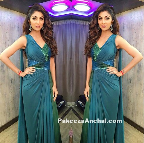 Shilpa Shetty in a Blue draped Saree Gown by Amit Agarwal