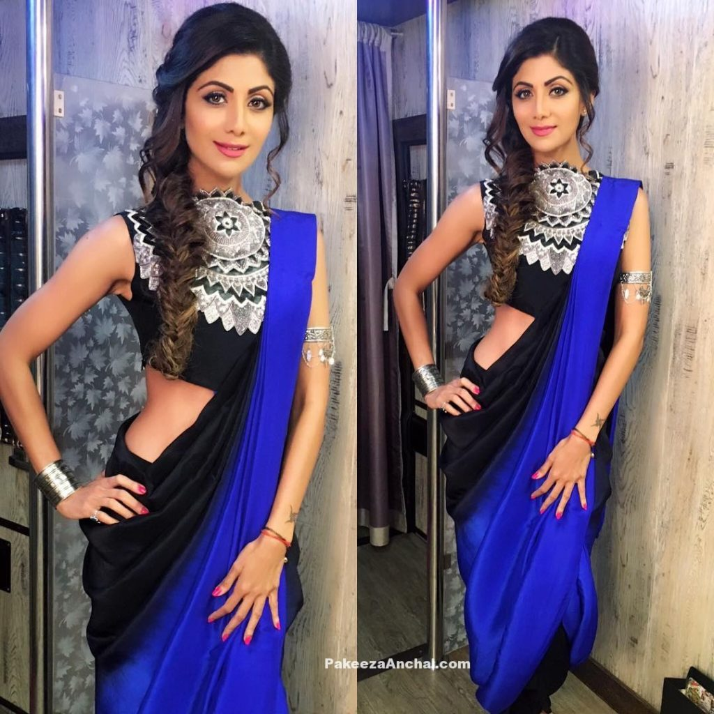 Shilpa Shetty in in stylish Sleeveless Blouse Design 2016