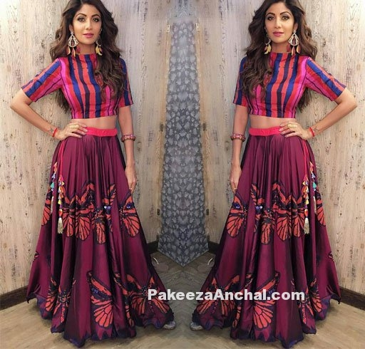 Shilpa Shetty in striped blouse & Patch work Lehe