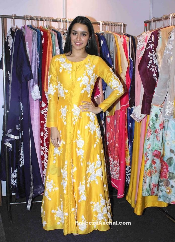 Shraddha Kapoor in Yellow Silk Floor lenght Dress with white Floral Embroidery-PakeezaAnchal.com