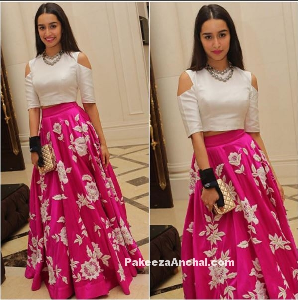 Shradhha Kapoor in White Cut-out Crop Top and Pink Floral Lehenga-PakeezaAnchal.com