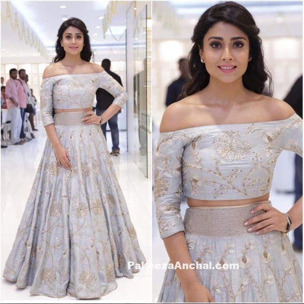 Shriya Saran in Mint Green Lehenga by Payal Singhal