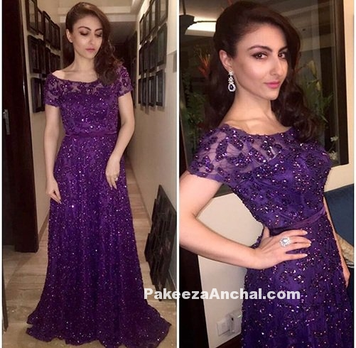 Soha Ali Khan in Dimple & Amrin Long Gown-PakeezaAnchal.com