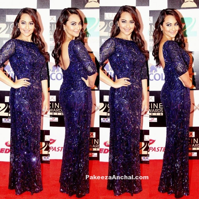 Sonakshi Sinha in Dazzling Blue Nadine Dhody Gown-PakeezaAnchal.com