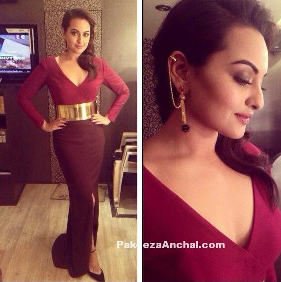 Sonakshi Sinha in Nikhil Thampi's Maroon Fitted Gown
