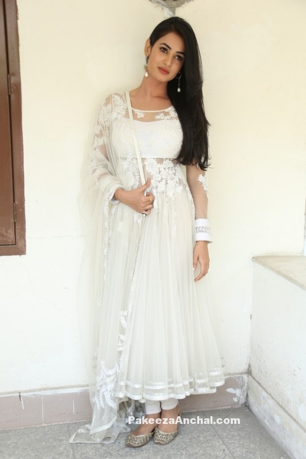 Sonal Chauhan in Designer White transparent Anarkali Dress for Indian Girls-PakeezaAnchal.com