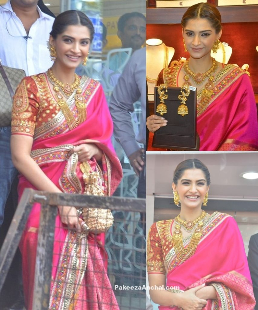 Sonam Kapoor in Abu Jani Sandeep Khosla in Pink Saree