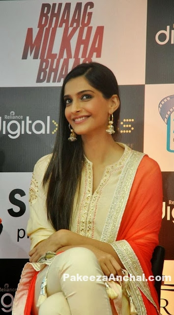 Sonam Kapoor in Gold Salwar Suit with Tight Churidar by Nikasha Lulla-PakeezaAnchal.com