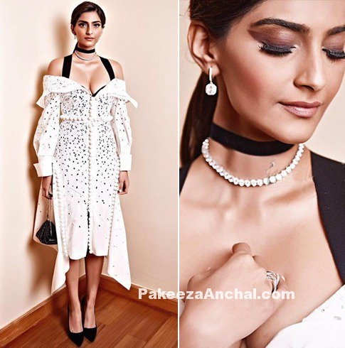 Sonam Kapoor in Midi dress at Fight Hunger Foundation dinner-PakeezaAnchal.com